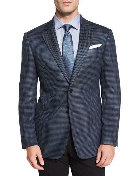 Armani Collezioni G-Line Mini Box-Check Sport Coat, Blue
