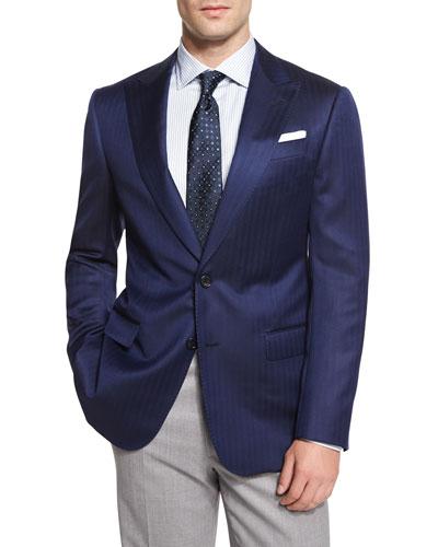 G-Line Herringbone Sport Jacket, Blue
