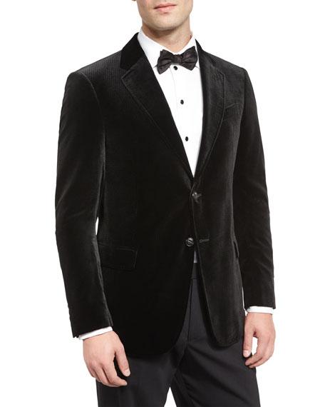 Armani Collezioni Textured Diamond-Print Evening Jacket, Black