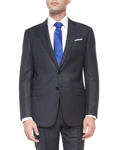 G-Line Birdseye-Grid Wool Suit, Gray