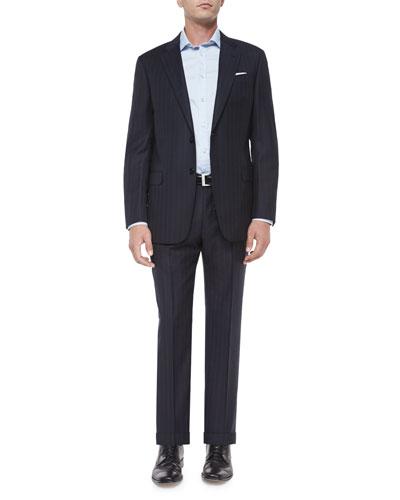 G-Line Textured Wide-Stripe Wool Suit, Navy