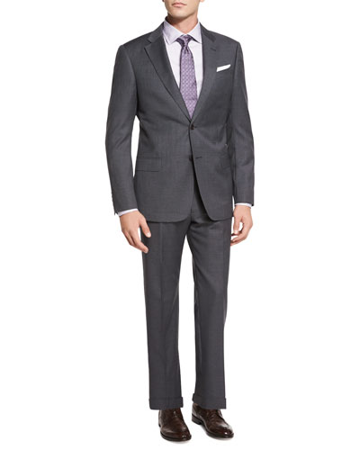 G-Line Micro-Pindot Two-Piece Suit, Gray