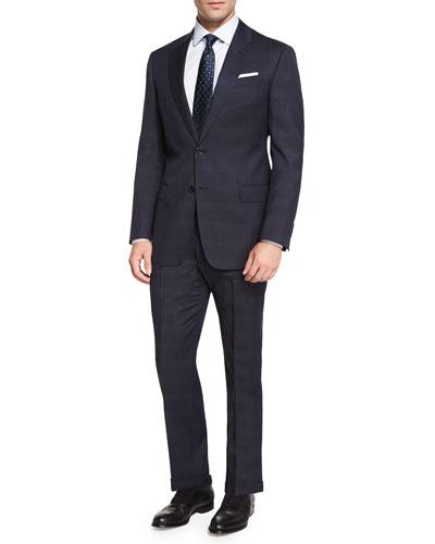 G-Line Tonal Plaid Two-Piece Suit, Navy