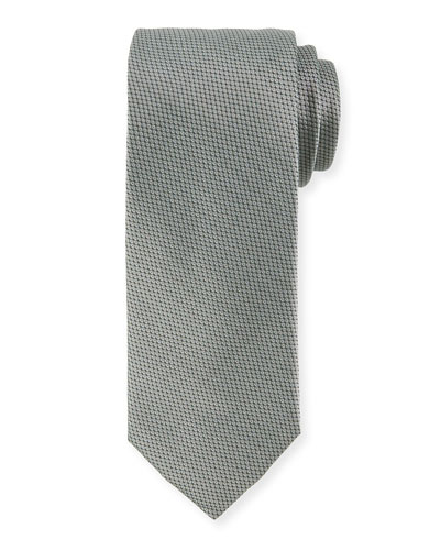 Textured Solid Silk Tie, Green