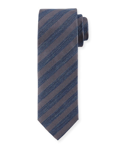 Striped Denim Silk Tie, Gray