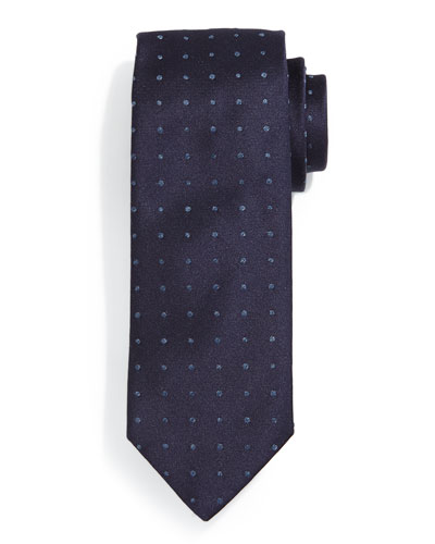 Denim Mini Dot Silk Tie, Navy
