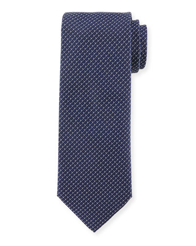 Textured Ladder-Print Silk Tie, Navy