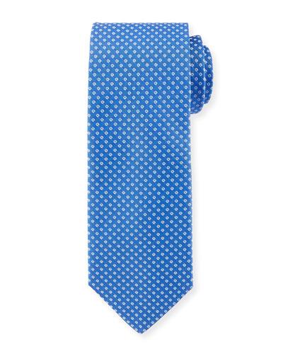 Open Dot-Print Silk Tie, Blue