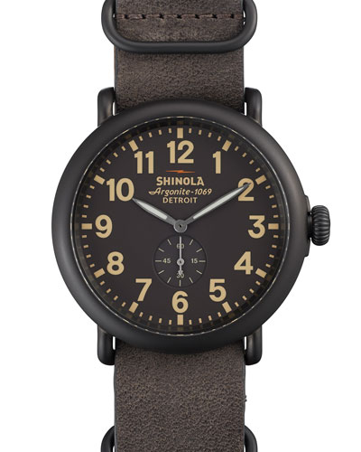 47mm Runwell Watch with Leather Strap, Gray