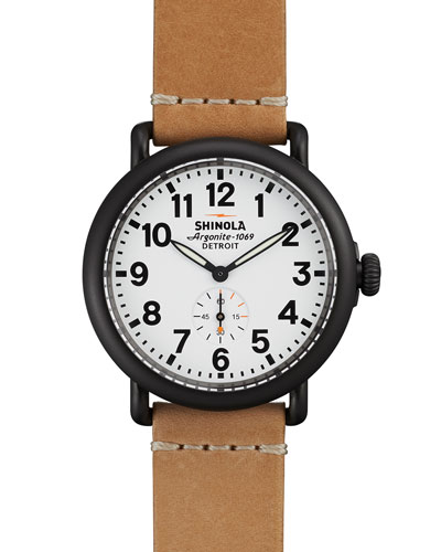 41mm Runwell Leather Watch, Natural