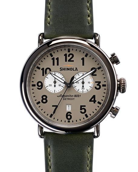Shinola 47mm Runwell Chronograph Watch, Green