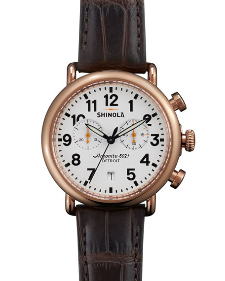 Shinola 41mm Runwell Chronograph Watch with Alligator Strap,