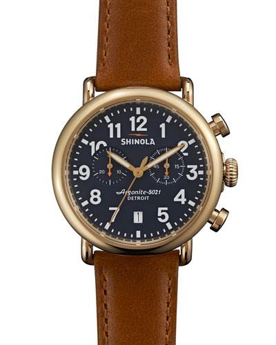41mm Runwell Chronograph Watch, Dark Brown