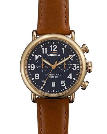 41mm Runwell Chronograph Watch, Dark Brown