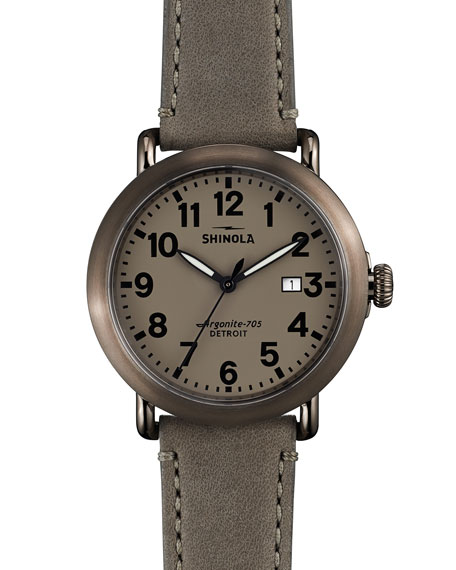 Shinola 41mm Runwell Topaz Watch, Gray