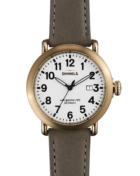 41mm Runwell Leather Watch, Gray