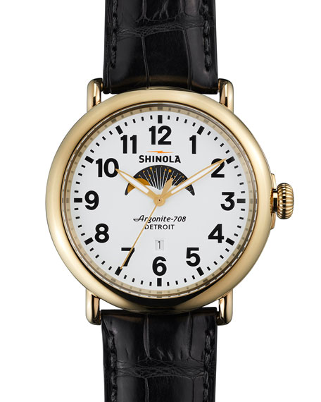 Shinola 47mm Runwell Moon Phase Watch, Black