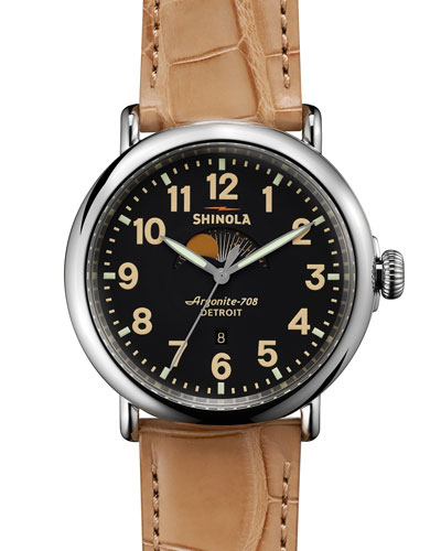 47mm Runwell Moon Phase Watch, Tan