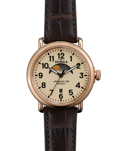 41mm Runwell Moon Phase Watch, Brown