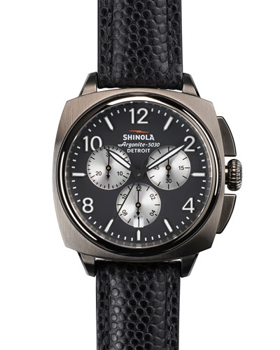 40mm Brakeman Chronograph Leather Watch, Black