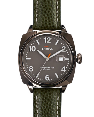 40mm Brakeman Watch with Leather Strap, Green