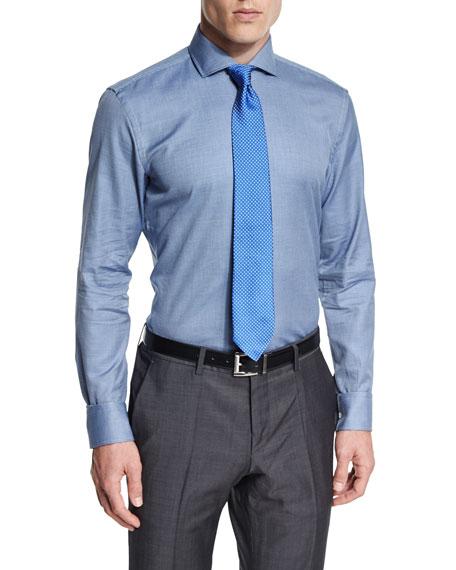 Boss jason slim fit textured pindot dress shirt blue for Hugo boss jason shirt