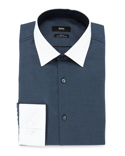 Jonnes Slim-Fit Dress Shirt with White Collar/Cuffs, Blue