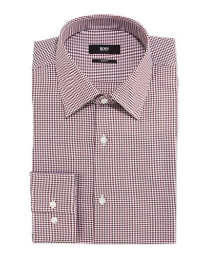 Jacob Plaid Slim-Fit Dress Shirt, Brown