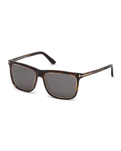 Classic Square Sunglasses, Rose Gold/Brown