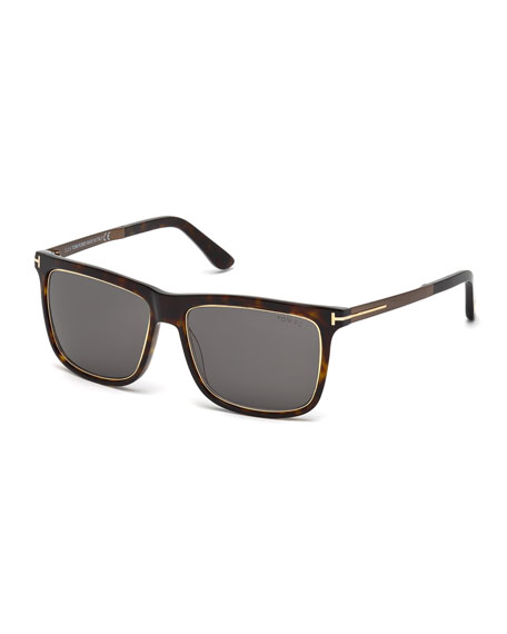TOM FORD Classic Square Sunglasses, Rose Gold/Brown