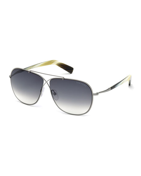 TOM FORD Lightweight Aviator Sunglasses, Gray