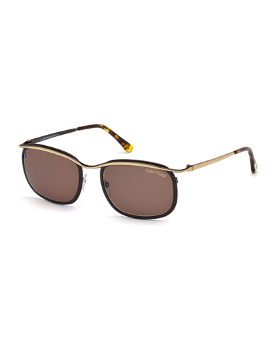 Shiny Metal Sunglasses, Rose Gold/Black