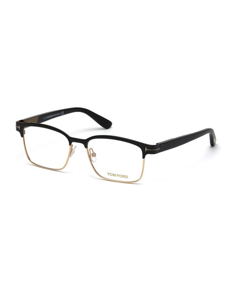 TOM FORD Shiny Metal Square Eyeglasses, Rose Gold/Black