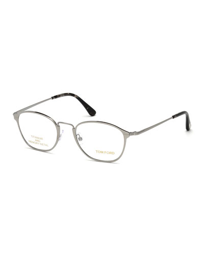 Light Metal Round Eyeglasses, Gray/Black