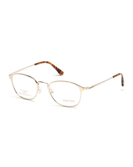 TOM FORD Titanium/Metal Eyeglasses, Rose Gold/Brown