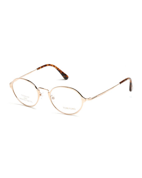 Gold Metal Glasses Frames : TOM FORD Round Metal Eyeglasses, Rose Gold/Brown