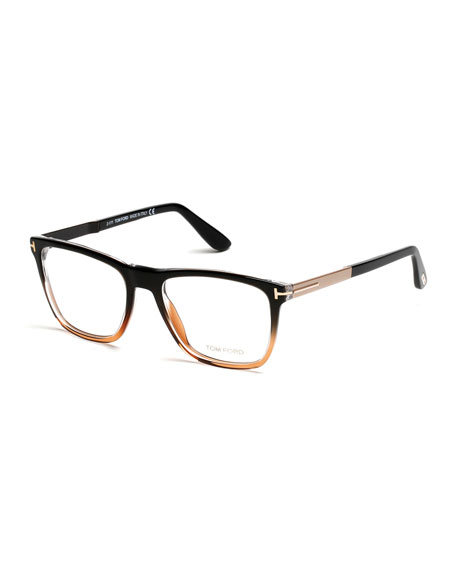 TOM FORD Square Gradient-Frame Eyeglasses, Black/Brown | Neiman Marcus