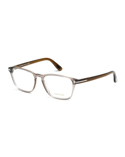Transparent Acetate Eyeglasses, Gray/Khaki