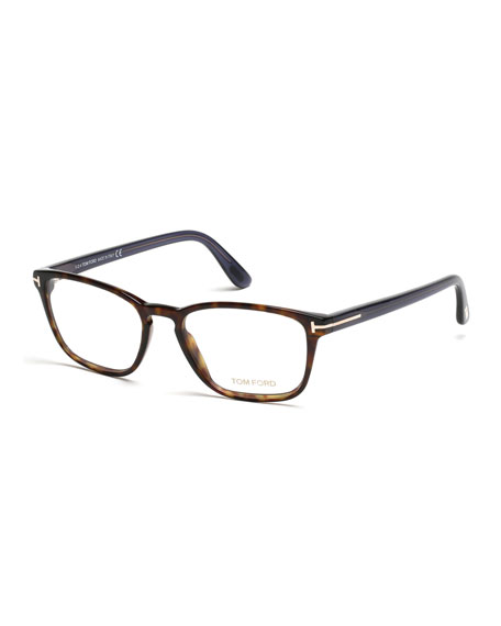 Transparent Havana Eyeglasses, Brown/Blue