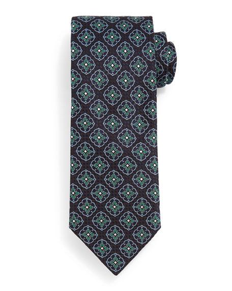 Brioni Fancy Medallion Tie, Navy