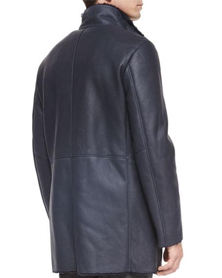 82b90d427 Long Leather Jacket w/Shearling Lining, Black