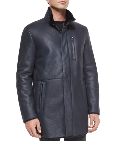 Armani Collezioni Long Leather Jacket w/Shearling Lining, Black