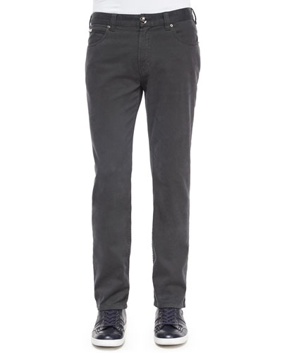 Five-Pocket Stretch-Cotton Pants, Gray