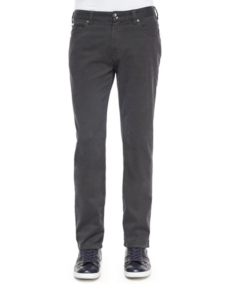 Armani Collezioni Five-Pocket Stretch-Cotton Pants, Gray