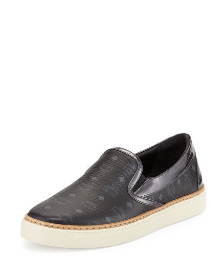 MCM Visetos Monogrammed Slip-On Sneaker, Black