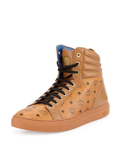 Monogrammed High-Top Sneaker, Cognac