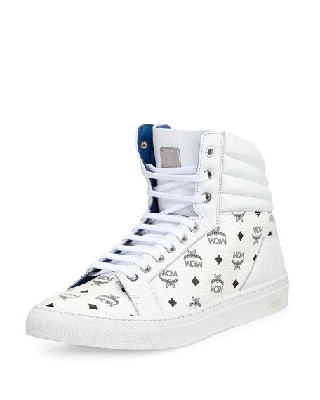 mcm monogrammed high top sneaker white
