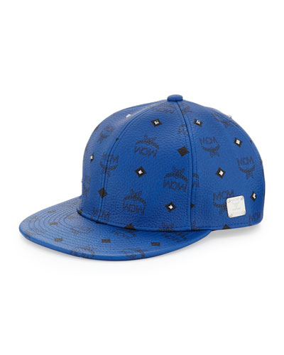MCM Logo & Gunmetal-Stud Cap, Blue