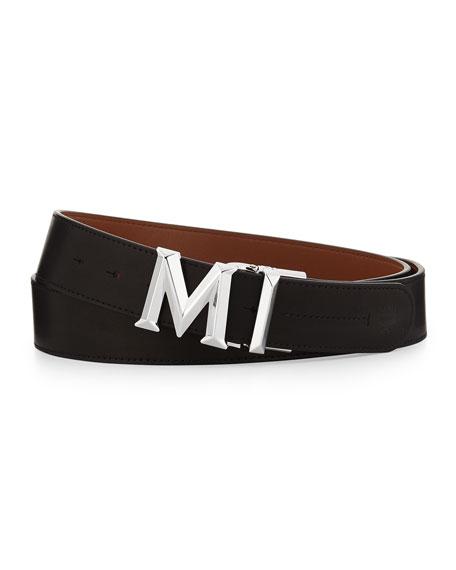 MCM M-Buckle Smooth Leather Belt, Black