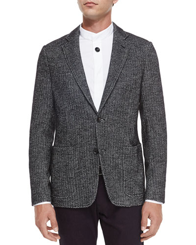 Herringbone Two-Button Jersey Blazer, Black